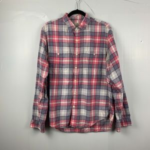 J. Crew Gray/Pink Flannel Slim Fit Button Up